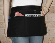 Black Short Apron Zipper Money Pockets - For Restaurant Bistro Cafe Waiter