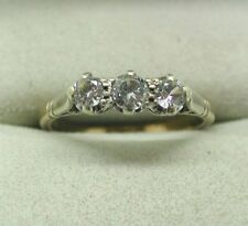 Vintage Very Nice 9ct Gold White Stone Trilogy Ring