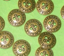 Set 15 FANCY SCROLL Vintage Antiqued BRASS Metal New Small Buttons 1/2""