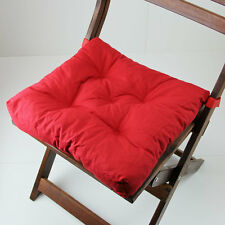 Red Chair Cushion Pad Patio Yard Square  15x15 Solid Outdoor Indoor Hook & Loop