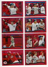 2014 TOPPS AMERICAN LEAGUE RBI LEADERS RED SPARKLE PARALLEL CARD #153