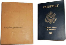 New USA Leather passport case wallet credit ATM card case, Tan passpor ID holder
