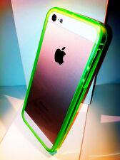 Nuovo Bumper ultra slim per Apple iPhone 5 5s colore verde Fluo  TRASPARENTE