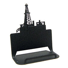 Oil derrick black metal business card holder