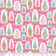 VINTAGE NOEL RETRO CHRISTMAS TREES SNOWGLOBES FABRIC