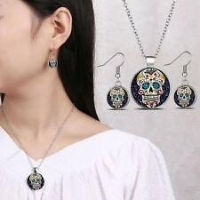 Black Sugar Skull Glass Dome Pendant Silver Necklace Woman Earrings Jewelry Set