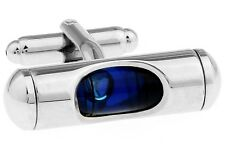 Level Cufflinks Blue Liquid Carpenter Wedding Fancy Gift Box Free Ship USA