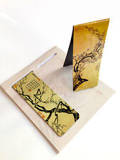 Set of 2 Chinese Ancient Painting Magnetic Bookmark in Khaki Flora Plum Blossom