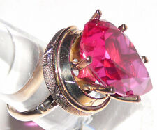 Synthetic ruby and 14K gold ring, vintage 1960s from Stern Jewelers