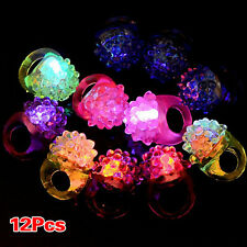 12X Light-Up Jelly Bumpy Rings Flashing LED Bubble Rave Party Favors Blinking PS