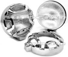 "12v 5.5"" Car Van Chrome Round Halogen Driving Lamps Pair With Chrome Grills"