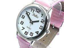 106031JP Womens Jumbo Sized Quartz Watch with Chrome Rim and Pink Strap