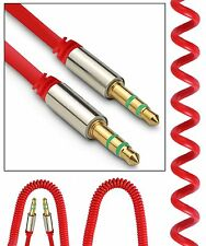 Red Coiled 3.5mm AUX Cable Mini Jack to Jack Male Audio Auxiliary Lead PC Car