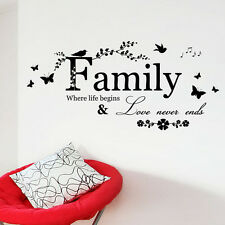 Family Where Life Begins Love Never Ends Vinyl Wall Quotes Stickers Decor Decal