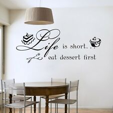 DIY Life Is Short Cake Quote Art Vinyl Wall Stickers Decal Dinner Room Decor CA