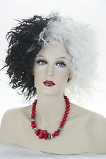Black / White Cruel Lady Medium  Curly Fun Color Costume Wigs