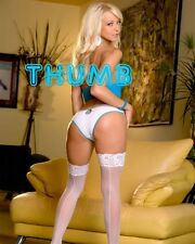 Jana Cova - 10x8 inch Photograph #056 in White Pants & Seamed Lace Top Stockings