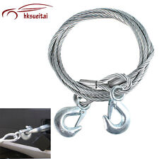AUTO Car 4M Emergency Towing Steel Wire Rope Tow Trailer Strap Cable Metal Hooks