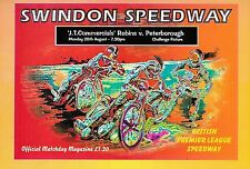 Speedway Programme SWINDON ROBINS v PETERBOROUGH PANTHERS Aug 1995