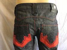 ANTIK Denim  *BOOTCUT Jeans Men's NWT Raw/Indigo Blue w*Red Pleather Size:42x34