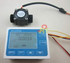 "G3/4"" Flow Water Sensor Meter+DigitalLCD Display Quantitative Control 1-60L/min"