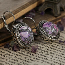 Tibetan Sliver Purple Turquoise snap closure Earrings wedding Party Jewelry xmas
