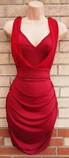 LOVE & OTHER THINGS BURGUNDY RUCHED PARTY BODYCON GRECIAN SEXY CLUB DRESS L 14