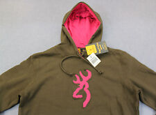BROWNING BUCKMARK Women CHOCOLATE BROWN PINK LOGO FLEECE SWEATSHIRT HOODY NWT  L