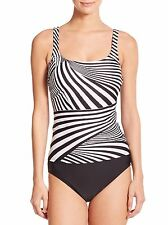 NWT GOTTEX ILLUSION STRIPED TANKINI TWO PIECE SWIMSUIT,  SIZE 18
