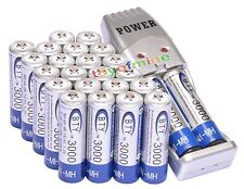 24x AA 2A 3000mAh 1.2 V Ni-MH BTY Rechargeable Battery Cell + AA AAA USB Charger