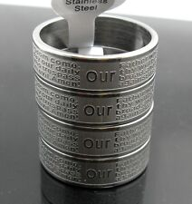 20pcs Etch LORD'S PRAYER Stainless steel rings Men's Fashion Jesus Jewelry lot