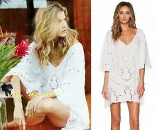 VIX  $186 NEW!! White Rayon Embroidery V-Neck Caftan Cover-up Dress S
