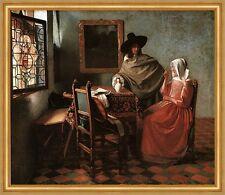 Herr und Dame beim Wein Vermeer holländische Malerei Fenster Hut LW H A1 0288