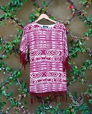 NWT Sam Edelman Prairie Dreamer Red and White Dress With Fringe, Size Small