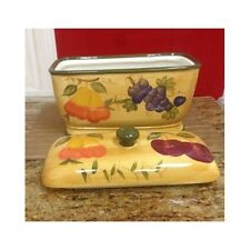Ceramic Bread Box Vintage Hand Painted Mixed Fruit Storage Container Kitchen Jar