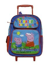 "Peppa Pig Scooter Buddies 16"" Canvas Blue & Red Rolling Backpack"