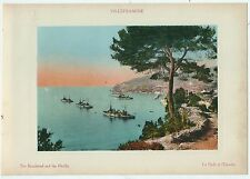 1900ca VILLEFRANCHE RADE ESCADRE chromolithographie J Gilletta Côte d'Azur Nice