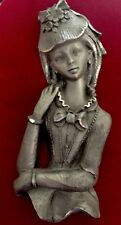 Vintage Mid Century Pewter Victorian French Lady Figurine Red Velvet Wall Plaque