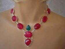 LADIES HANDCRAFTED NATURAL RUBY 925 SILVER NECKLACE