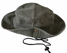 Mens Ladies Safari Outback Australian Style Cotton Bush Hat With Wide Brim.
