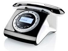 Retro DECT Schnurlostelefon mit Anrufbeantworter, schwarz, Retrotelefon, Telefon