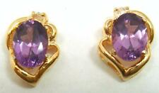 14K YELLOW GOLD OVER 925 SILVER LABORATORY AMETHYST STUD EARRINGS   E532