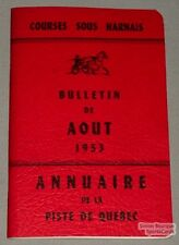 Original August 1953 Quebec Horse Racing Guide