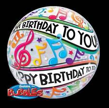 "22"" BUBBLE BALLOON ""HAPPY BIRTHDAY TO YOU MUSICAL NOTES "" PARTY - STRETCHY"