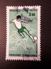 ANDORRE FRANCAISE, 1986 timbre 350, MEXICO 86 FOOTBALL oblitéré, VF cancel stamp