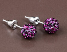 1 pair Shining 10mm Deep Purple Disco Bead Ball Pave Earrings jewelry DIY B13