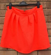 RIVER ISLAND NEON ORANGE ZIP BACK A LINE SKATER PROM PARTY TEA SKIRT 14 L
