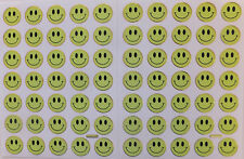 SMILEY FACE STICKERS x 2 sheets, bright yellow, gold outline *top quality*