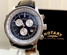 Rotary Swiss Watch Chronograph Black Leather Waterproof Mens Watch RRP £180 Used