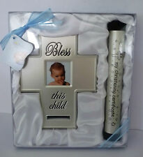"BABY BOY ""MY CHRISTENING CERTIFICATE"" HOLDER & ""BLESS THIS CHILD"" PHOTO FRAME"